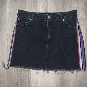 Topshop mini black denim skirt with rainbow stripe